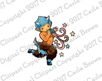 Dancing Faun Clip Art cute baby Pan or Puck graphic Download clipart illustration satyr playing pipes flute with stars