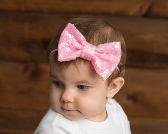 Pink Sparkle Bow Headband, Baby Girl Pink Headband, Girls Pink Sparkle Bow Headband, Pink Sparkle Bow, Baby Headband, Valentine's Day, Pink