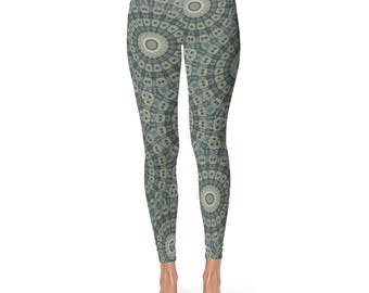 Shaman Clothing - Brown and Green Tribal Yoga Pants, Mandala Patterned Boho Leggings, Womens Printed Leggings