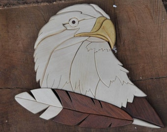 Wooden bald eagle intarsia - handmade rustic wall decor - scroll saw art - woodland animals - fine woodworking - patriotic art