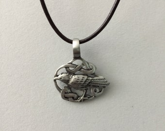 Celtic Raven Leather Necklace
