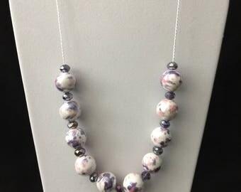 Pink & Purple Porcelain Necklace