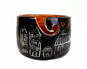 Yarn bowl houses and trees black orange knitting bowl pottery