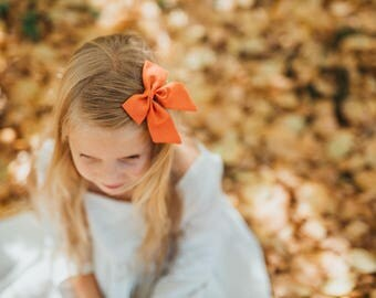 Rust Hair Bow | Rust Hair Bows, Orange Bow, Girls Hair Bow, Girls Hair Clip, Rust Hair Bow, Orange Hair Clip, Orange Hair Bows
