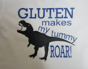 Gluten makes my tummy roar shirt or onesie for celiac disease awareness or wheat allergy