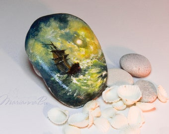 """Men gift Desk accessories Painted rock Miniature copy of a picture """"Storm at the sea at night"""" Ayvazovsky"""