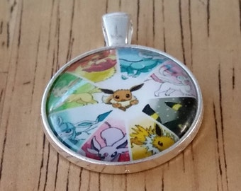 1 - Silver - Glass Cabochon - Pendant - Necklace - Colorful with Rabbit in Center - The size is 36mm x 28mm
