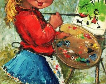 Michel Thomas 1971 5 big eyed girl boy print postcards Brussels landmarks
