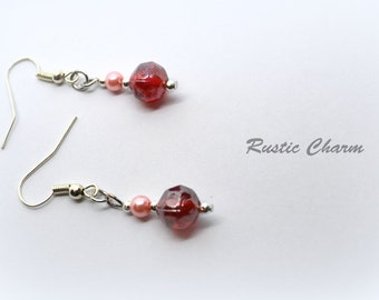 Rose Glass and Light Pink Glass Pearl Dangle Earrings with Silver Accents