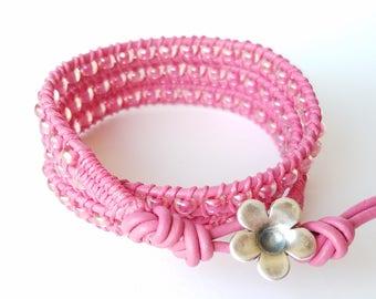 Hot Pink Bracelet, Pink Wrap Bracelet, Leather Wrap Bracelet, Triple Wrap, Beaded Bracelet, Pink Beads, Hot Pink Leather