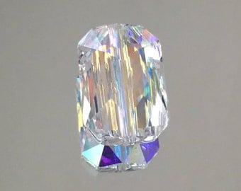 Swarovski Crystal Emerald Cut Clear Beads - 14x9.5mm Rectangle Crystal Beads - Package of 2