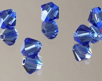 Swarovski Crystals Blue Crystal Beads - Sapphire Blue 6mm Bicone Beads  - Package of 12 (#270)