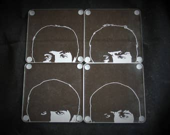 The Beatles Hand Engraved coasters featuring John, Paul, George and Ringo. Set of 4 Acrylic mats