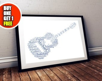 Guitar personalised art print,  guitar print, guitar artwork