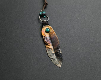Feather necklace Turquoise necklace Feather pendant Boho necklace Feather jewelry Statement necklace Hammered necklace Earthy jewelry Copper