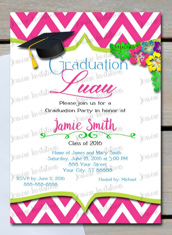 Items similar to Graduation Luau Invitations, Party ...