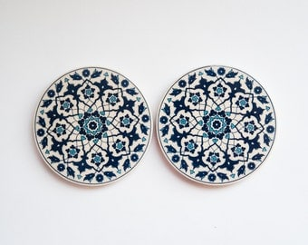 Turkish traditional coasters favors, drinks coasters, kitchen decor, gift for her, drink coaster, tile coasters, coaster set.