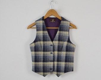 Women's Vintage Woollen Waistcoat |  Ladies' Vintage Vest |  Ladies' Checked Waistcoat |  Vintage Plaid Vest