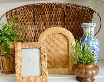 Rattan Picture Frames, Pair of Bohemian Photo Frames