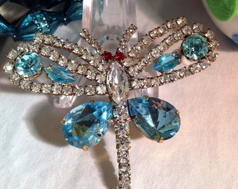 Vintage Dragonfly Pin, Czech Dragonfly Brooch, Blue Rhinestone Dragonfly, Statement Brooch, Blue Rhinestone Pin, Estate Jewelry