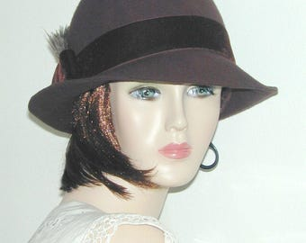 Convertible handmade wool and velvet bowler fedora - Downton Abbey Miss Fisher hat