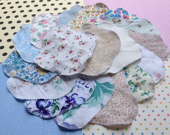 GRAB BAG, Priced to Sell, 3 Sizes, Buy 5, 10 or 15, Reusable Cloth Panty Liners, Variety Set, Winged Wrap Style, 100% Cotton Materials