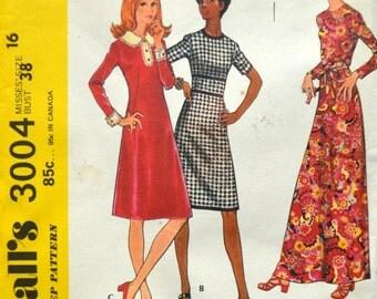 Uncut 1970s McCall's Vintage Sewing Pattern 3004, Size 16; Misses' Dress
