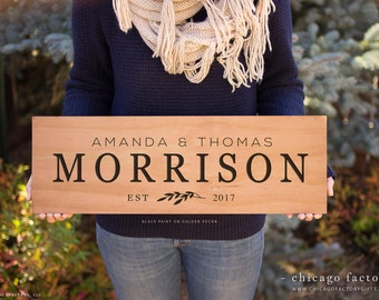 Personalized Last Name Wood Sign, Family Established Sign, Wedding Gift, Custom Wood Sign, Personalize Wedding Gift, Hanging Plaque (GP1042)