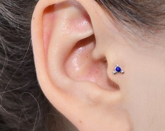 Silver TRAGUS STUD 18g / nose stud, helix piercing, tragus earring 2mm Lapis, nose ring, cartilage earring stud, helix earring