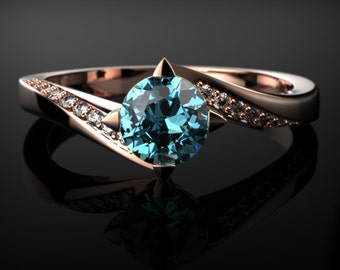 Solid Rose Gold Blue Topaz Engagement Ring Rose Gold Engagement Ring Blue Gemstone Engagement Ring Gold Blue Topaz Ring December Birthstone