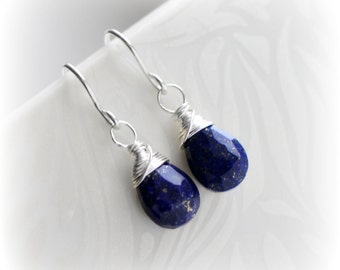 Lapis Lazuli Earrings Sterling Silver, Tiny Lapis Earrings, Navy Blue Earrings, Lapis Dangle Earrings, Gift for Her, Handmade by Blissaria