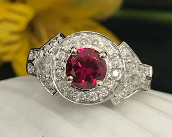 Ruby and Diamond Vintage Look Ring in 14K White Gold #4366