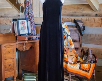 Vintage Jones New York, backless velour dress