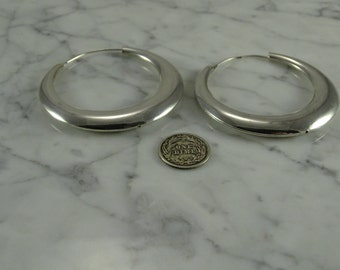 "Sterling Silver Hoops ( 2 1/4"" wide)"