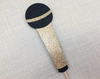 Glitter Mic Photo Prop / Bronze Microphone Photo Booth Prop / Wedding Photo Prop / Party Goods / Singing Mic / Fully Assembled