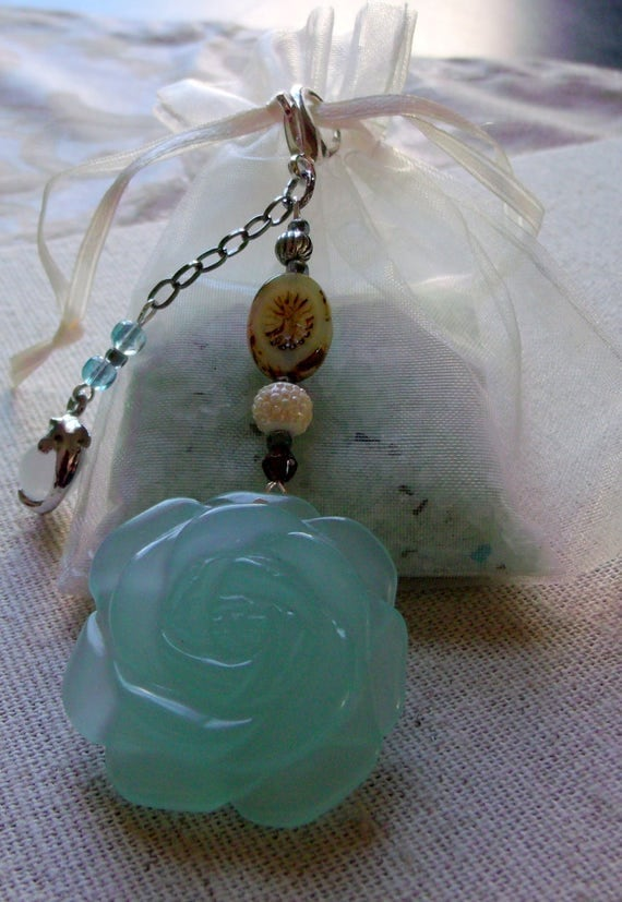 Aqua carved glass rose flower zipper pull -  journal - ching hai jade - planner charm - silver mask - dolphin - swan - gift - Lizporiginals