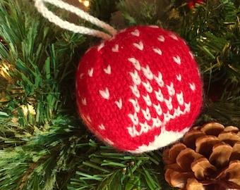 Snowy Tree - Christmas ornament - Hand Knit