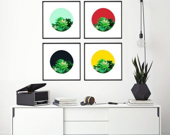 "Modern Wall Art, Mid Century, Abstract Print, Succulent Art, Wall Decor, Navy Art, Colorful Art, Plant Art, Tropical Art, ""Peak of Green"""