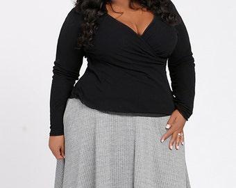 MAXINE Plus Size Midi Skirt, Full Circle Swing Skirt, Curvy Career wear, Menswear inspired Herringbone fabric in Black/White