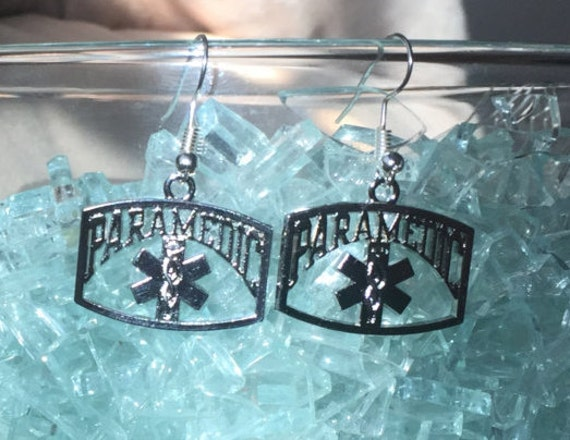 Paramedics Earrings, Antique silver, EMT also available