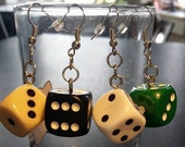 Dice Earrings from board games - 9 Different solid colors! For the Geeky, Nerdy, Gamer, or Board gamer in you!