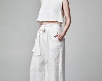 White Linen Pants, White Palazzo Pants, High Waist Pants, Wide Pants, White Long Pants, Oversized Pants, Casual Linen Pants, White Trousers