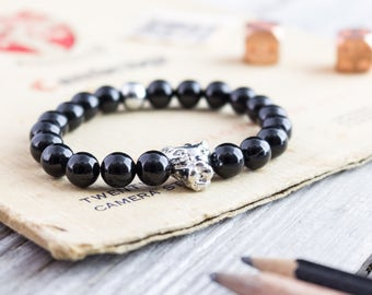8mm - Black onyx beaded silver Leopard head stretchy bracelet with a silver plated hematite bead, mens bracelet, womens bracelet