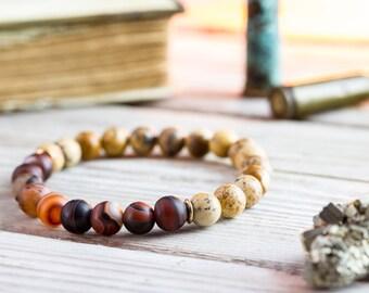 8mm - Mens bracelet, Natural jasper stone & dream agate beaded stretchy bracelet, yoga bracelet, womens bracelet, natural bead bracelet
