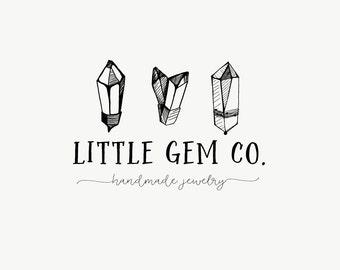 Crystals logo - Premade logo design - Gems and crystals - Jewelry shop logo - Small business logo - Monochrome logo - Black and white
