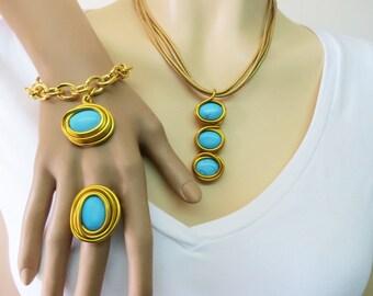 Matching Jewelry Set, Set Of Jewelry, Turquoise Set, Something Blue, Womens Turquoise, Women's Set, Gemstone Set, Colorful Jewelry Set,