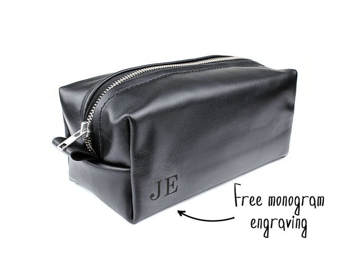 Gift for him - Dopp kit - Black toiletry bag - Father's day gift - Birthday gift for men - men's toiletry bag - leather gifts - personalized