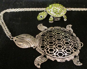 "Turtle Ring -- Elastic Band --  Green   Rhinestones-- One Size  AND  Turtle Necklace-Metal- Silver Color  With  24""  Chain"