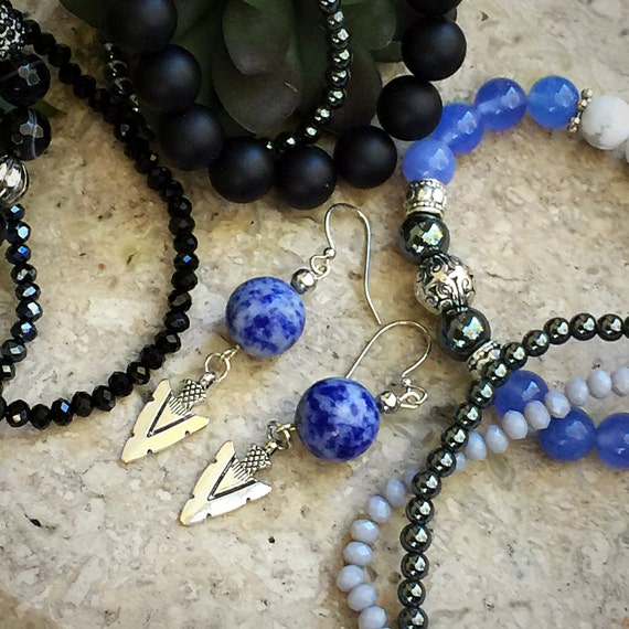 Silver Arrowhead Earrings, Sodalite Dangle, Silver Dangle Arrowhead Charm, Blue Stone Earrings, Boho Jewelry, Yoga Earrings, Tribal Earrings