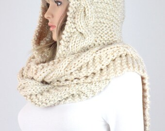 Knit Hooded Scarf Pattern - Vail Hooded Cable Scarf Pattern #37 - Knitting Scarf PATTERN - Digital Download - Not a Physical Scarf!